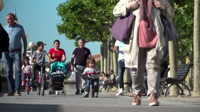 "dusseldorf street scenes as coronavirus lockdown restrictions are eased in germany - ""bbc news"" stock-videos und b-roll-filmmaterial"