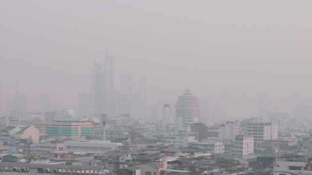 pm2.5 dust air pollution in bangkok, thailand - zoom out video stock e b–roll