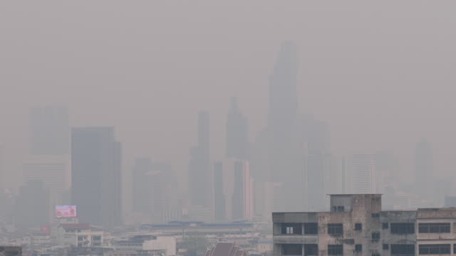 pm2.5 dust air pollution in bangkok, thailand - smog stock videos & royalty-free footage