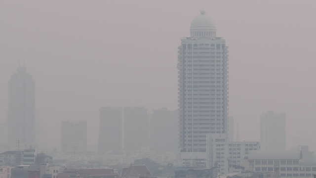 pm2.5 dust air pollution in bangkok, thailand - dust storm stock videos & royalty-free footage