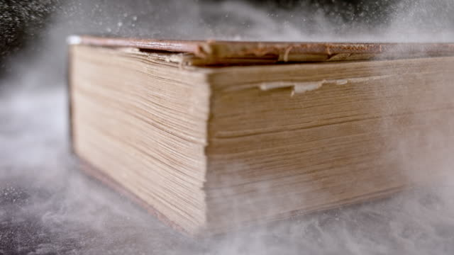vídeos de stock e filmes b-roll de slo mo ld dust flying off an old book falling on the table - literatura