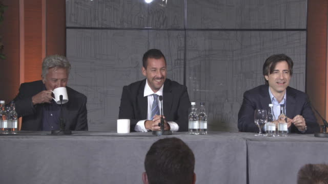 INTERVIEW Dustin Hoffman Adam Sandler Noah Baumbach on the title of the film at 'The Meyerowitz Stories' Press Conference 61st BFI London Film...