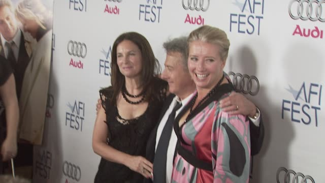 dustin hoffman emma thompson at the 'last chance harvey' premiere at los angeles ca - emma thompson stock videos and b-roll footage