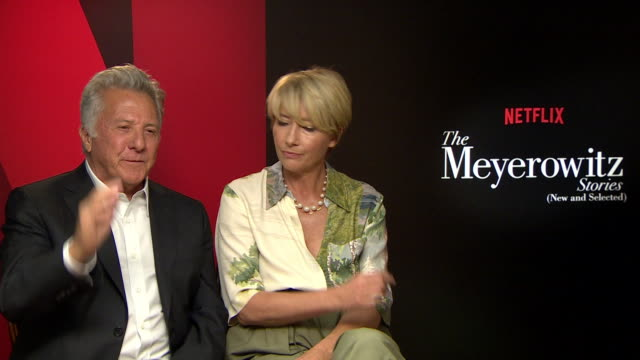 interview dustin hoffman emma thompson on president trump having anger issues how the pressures of achievement on people at 'the meyerowitz stories'... - emma thompson stock videos & royalty-free footage