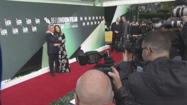 dustin hoffman lisa hoffman at 'the meyerowitz stories' uk premiere 61st bfi london film festival at embankment gardens cinema on october 6 2017 in... - dustin hoffman video stock e b–roll