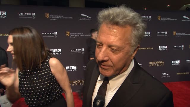interview dustin hoffman on event at 2014 bafta los angeles jaguar britannia awards presented by bbc america and united airlines in los angeles ca - dustin hoffman video stock e b–roll