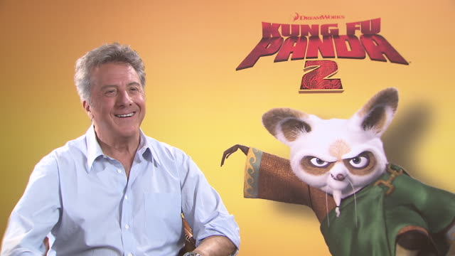 dustin hoffman on hearing his own voice at the kung fu panda 2 interviews 64th annual cannes film festival at cannes - dustin hoffman video stock e b–roll