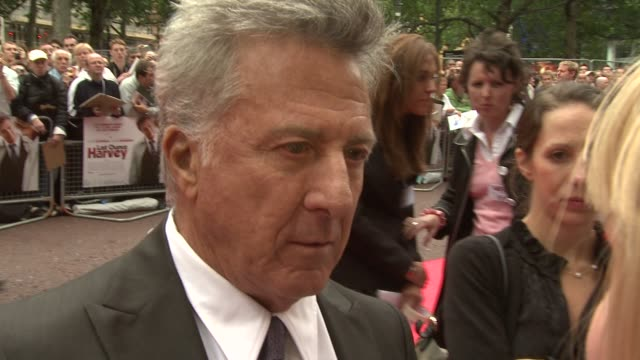 dustin hoffman on him and emma thompson being talkative at the last chance harvey uk premiere at london england - emma thompson stock videos and b-roll footage