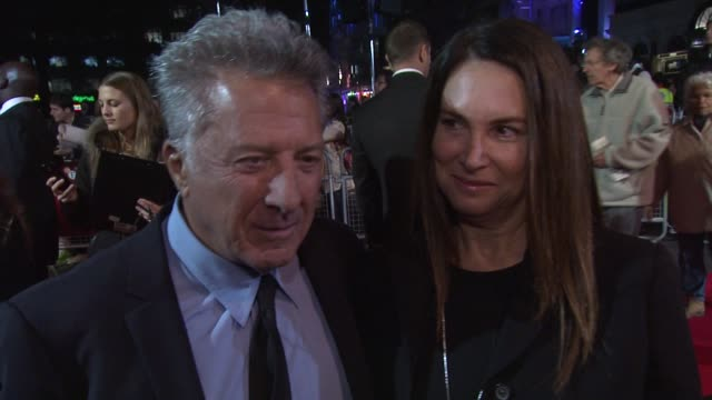 dustin hoffman on his wife encouraging him to direct what attrached him to the project working with tom courtenay at quartet premiere 56th bfi london... - tom courtenay stock videos & royalty-free footage