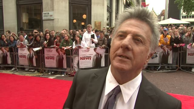 dustin hoffman on working with emma thompson on her being very witty and fun at the last chance harvey uk premiere at london england - emma thompson stock videos and b-roll footage
