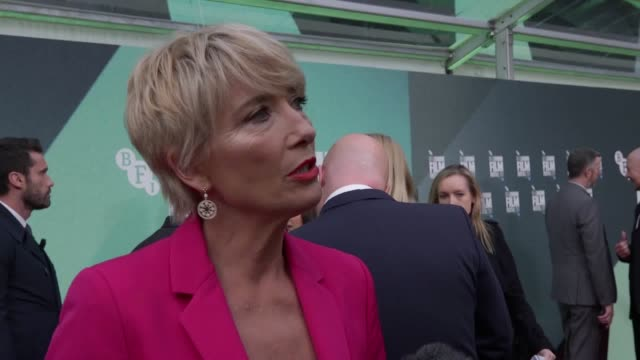 dustin hoffman salutes the 'unique' acting ability of emma thompson as they join adam sandler for the premiere of the meyerowitz stories at the bfi... - emma thompson stock videos & royalty-free footage