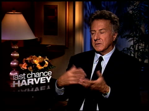 dustin hoffman talks about how they work together how its very personal and authentic he talks about working with joel hopkins as a new director how... - dustin hoffman video stock e b–roll