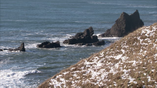 a dusting of snow covers a hill on the oregon coast near rock formations in the pacific ocean. available in hd. - オレゴン沿岸点の映像素材/bロール