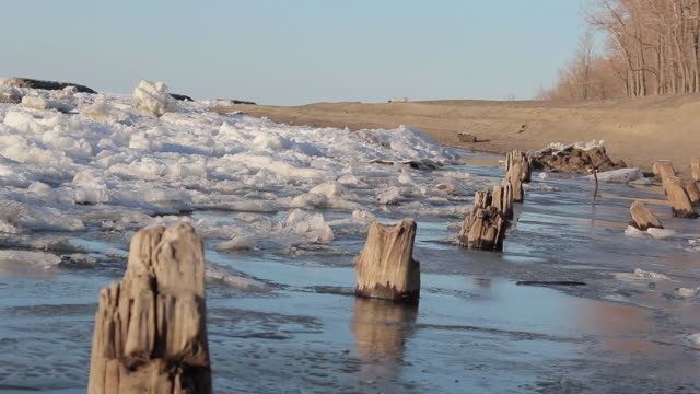dutch angle skewed tracking shot of a frozen lake, snow, ice, trees and pilings. - model released - 1920x1080 - hd - pennsylvania stock videos and b-roll footage