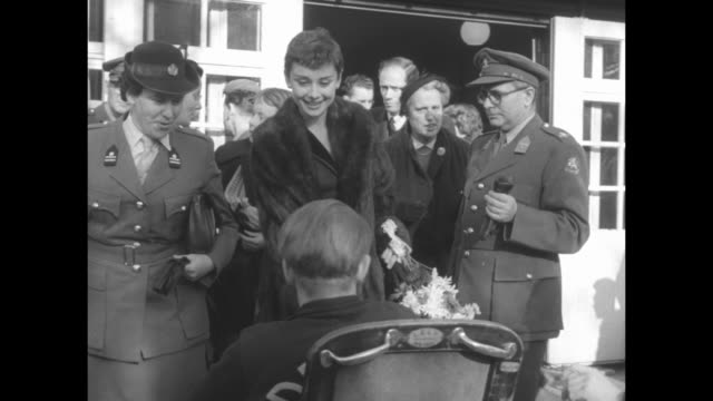 dutch born actress, audrey hepburn on fund raising tour for the netherlands league of disabled veterans / audrey visits rehabilitation centers and... - audrey hepburn stock videos & royalty-free footage