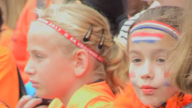 dutch fans hope their team can dominate the women's euro tournament as the netherlands take on norway in the event's opener in utrecht - utrecht stock videos & royalty-free footage