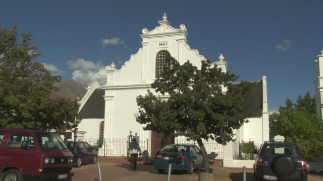 ws dutch reformed church exterior, stellenbosch, franschhoek, western cape, south africa - stellenbosch stock videos and b-roll footage