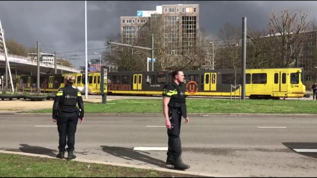 dutch security officials work at the scene where a shooting took place at the 24 oktoberplace in utrecht the netherlands on march 18 2019 three... - utrecht stock videos & royalty-free footage