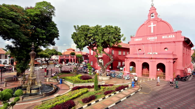 Dutch square tourists time lapse in Melaka, Malaysia