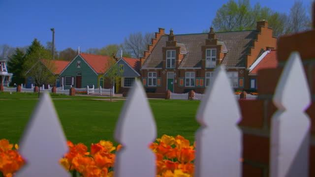 dutch village, crane shot - crane shot stock videos & royalty-free footage
