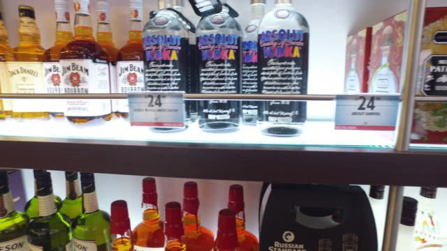 duty free liquor store on board carnival cruise ship no - liquor store stock videos and b-roll footage