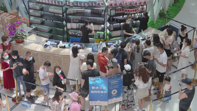 duty-free shopping centre in sanya,china. - exhibition stock videos & royalty-free footage