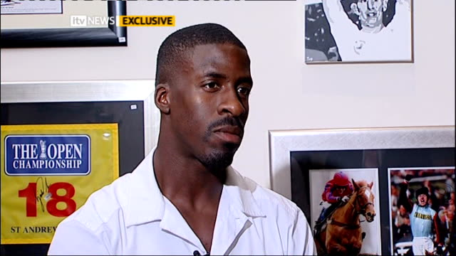 dwain chambers interview dwain chambers sot it's long way off but i've got lot to achieve / seems long way off but before you know it want to keep... - bedauern stock-videos und b-roll-filmmaterial