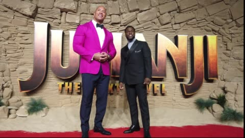 """dwayne johnson and kevin hart attend the """"jumanji: the next level"""" uk film premiere at bfi southbank on december 05, 2019 in london, england. - premiere stock videos & royalty-free footage"""