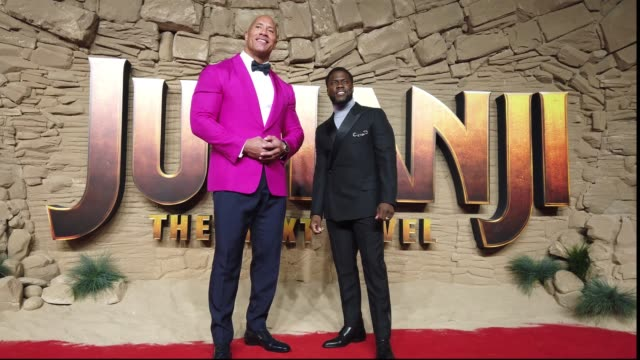 dwayne johnson and kevin hart attend the jumanji the next level uk film premiere at bfi southbank on december 05 2019 in london england - rock stock videos & royalty-free footage