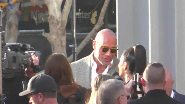 Dwayne Johnson attends the Rampage premiere at Microsoft Theater in Los Angeles in Celebrity Sightings in Los Angeles