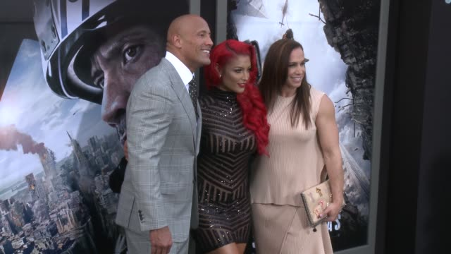 dwayne johnson eva marie and dany garcia at the san andreas los angeles world premiere at tcl chinese theatre on may 26 2015 in hollywood california - tcl chinese theatre stock videos & royalty-free footage