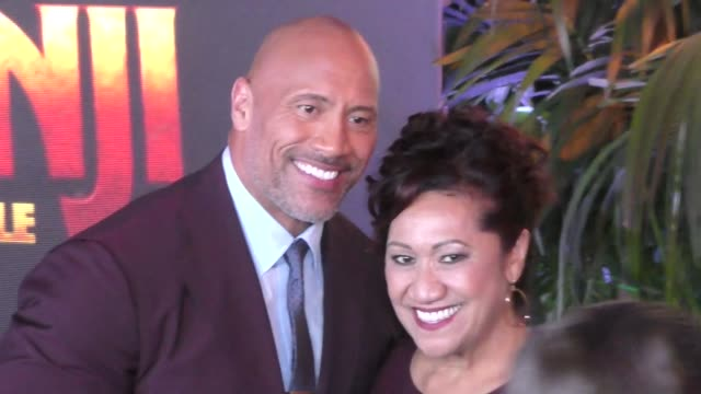 Dwayne Johnson his mom Ata Johnson at Jumanji Welcome To The Jungle premiere at TCL Chinese Theatre in Hollywood in Celebrity Sightings in Los Angeles