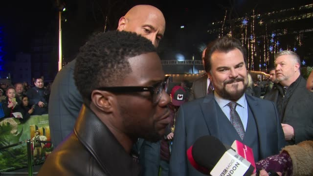 Dwayne Johnson Kevin Hart Jack Black on friendship and Robin Williams at Vue West End on December 07 2017 in London England
