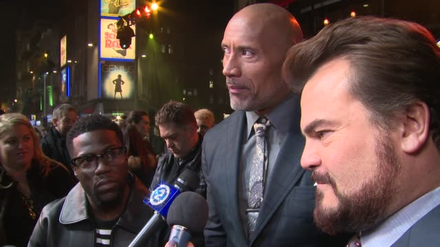 Dwayne Johnson Kevin Hart Jack Black on the franchise Dwayne's strengths and weaknesses and audience reception at Vue West End on December 07 2017 in...