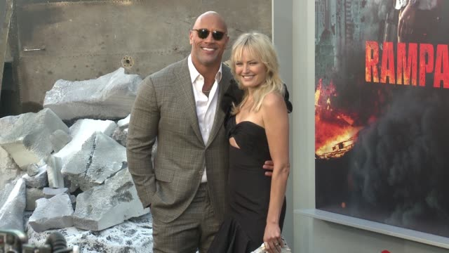 Dwayne Johnson Malin Akerman at 'Rampage' World Premiere in Los Angeles CA