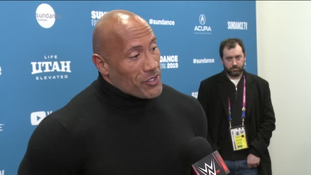 vídeos de stock, filmes e b-roll de interview dwayne johnson on his new film at fighting with my family sundance special screening and premiere on january 28 2019 in park city utah - festival de cinema de sundance