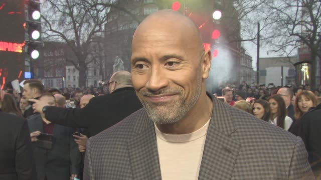 dwayne johnson on his success, working hard, adopting a gorilla and the military at 'rampage' european premiere at cineworld leicester square on... - leicester square stock videos & royalty-free footage