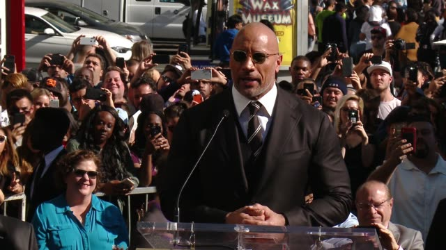 stockvideo's en b-roll-footage met speech dwayne johnson on the people who helped get him here significance of star at the dwayne johnson honored with a star on the hollywood walk of... - hollywood walk of fame