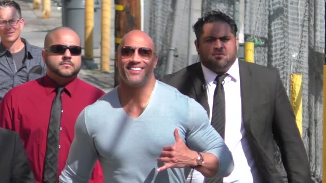 dwayne johnson promotes rampage on jimmy kimmel live at el capitan theater in hollywood in celebrity sightings in los angeles - jimmy kimmel stock videos and b-roll footage