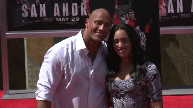 dwayne johnson with friends and family at the dwayne johnson immortalized with hand and footprint ceremony at tcl chinese theatre imax on may 19 2015... - tcl chinese theatre stock videos & royalty-free footage