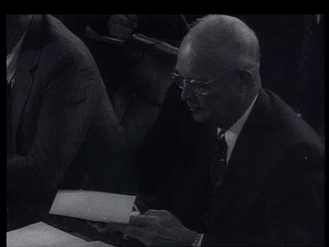 stockvideo's en b-roll-footage met dwight eisenhower, edgar faure, anthony eden, nikolai buganin amongst others at summit, bulganin + khrushchev in motorcade, state leaders sitting at... - 1955