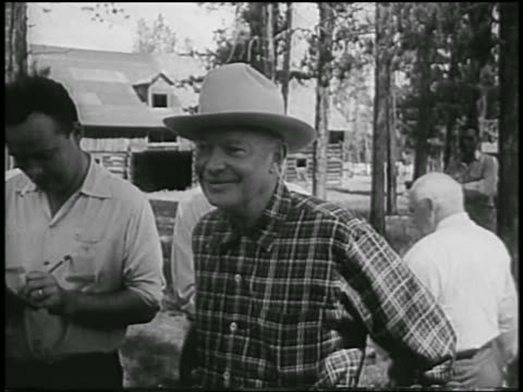 dwight eisenhower in cowboy hat standing outdoors smiling / colorado / newsreel - 1954 stock videos and b-roll footage