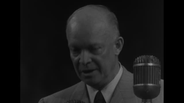 cu dwight eisenhower republican candidate for us president at microphone during speech at the detroit olympia sot re steel strike i know nothing... - harry truman stock videos and b-roll footage