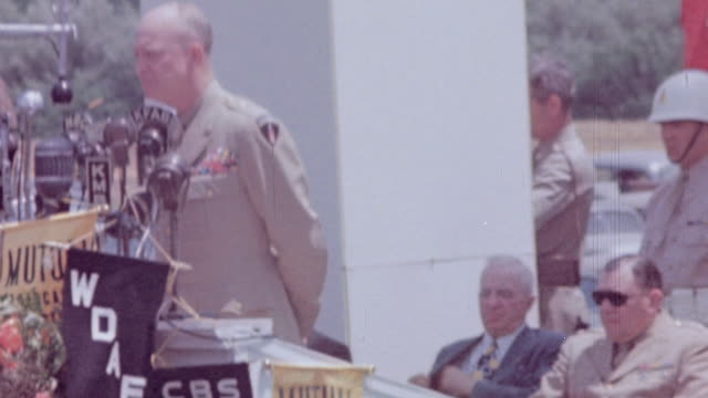 dwight eisenhower speaking at world war ii remembrance / abilene, texas, united states - allied forces stock videos & royalty-free footage
