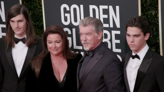 dylan brosnan keely shaye brosnan pierce brosnan and paris brosnan at the 77th annual golden globe awards at the beverly hilton hotel on january 05... - keely shaye smith and pierce brosnan stock videos & royalty-free footage