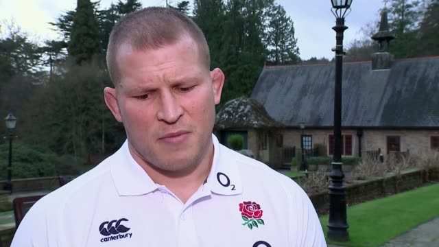 dylan hartley appointed new england captain; england: surrey: pennyhill park: dylan hartley set-up shot along with reporter / interview sot -... - eddie large stock videos & royalty-free footage