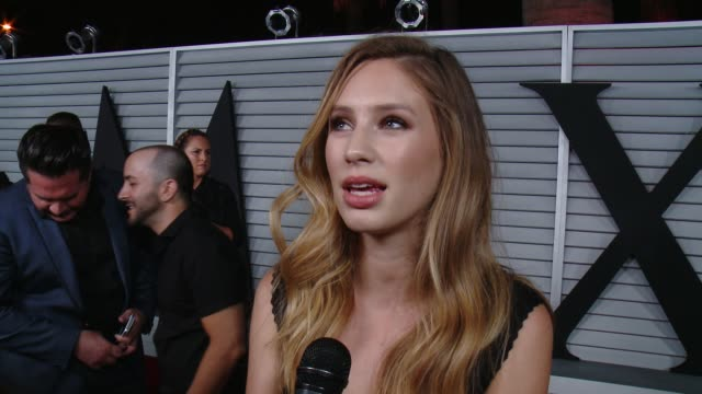 interview dylan penn on her dress and on being part of the hot 100 list at the maxim hot 100 and relaunch party at pacific design center on june 10... - pacific design center stock videos and b-roll footage