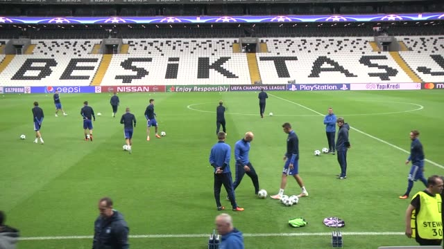 dynamo kyiv players take part in a training session led by head coach serhiy rebrov at vodafone arena in istanbul turkey on september 27 2016 dynamo... - besiktas stock videos and b-roll footage