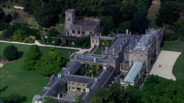 dyrham park  - aerial view - england, south gloucestershire, dyrham and hinton, united kingdom - 18th century stock videos and b-roll footage