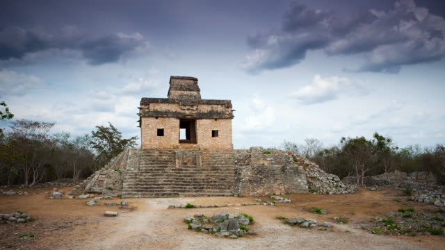 time lapse: dzibilchaltun ruins mexico - mayan stock videos & royalty-free footage